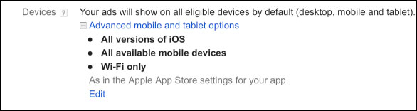 Devices on Ad Will be Shown