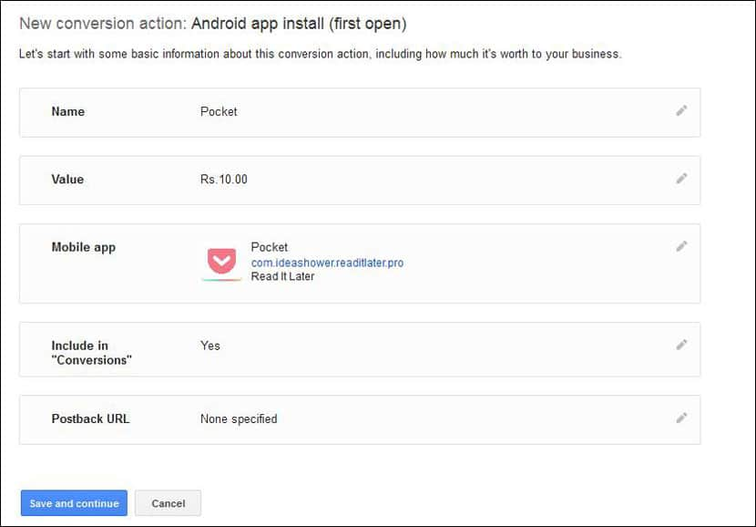 Select Android App installs (first open)