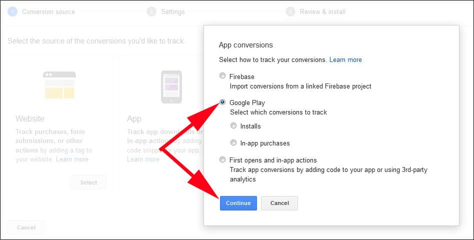 Select Google Play to Promote Android App