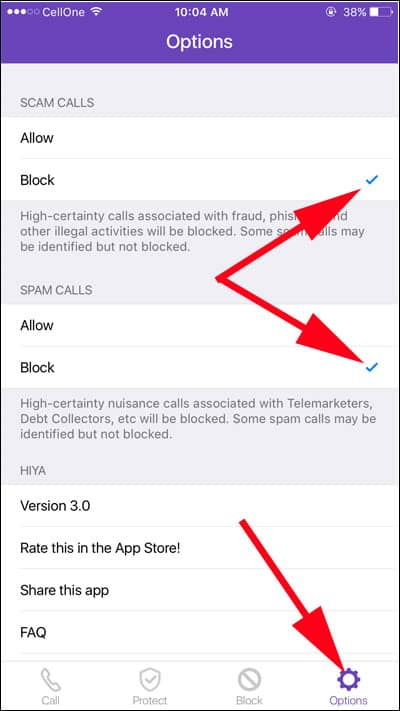 Slect Block Spam Calls from Options Menu