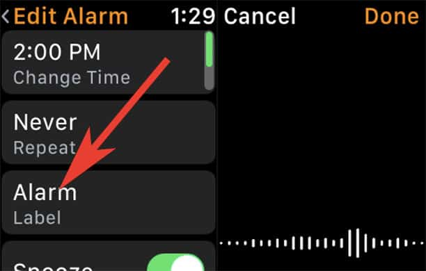 Change Alarm Label in Clock App on Apple Watch