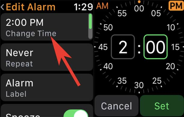 Change Alarm Time in Clock App on Apple Watch