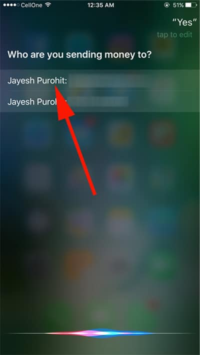 Select ID on which you want to transfer funds via paypal on iPhone