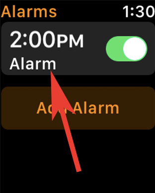 Tap on Alarm in Clock App on Apple Watch