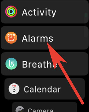Tap on Alarms on Apple Watch