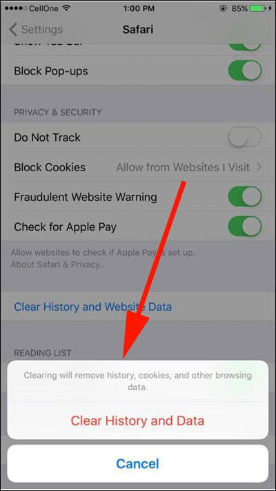 Tap on Clear History and Website Data option