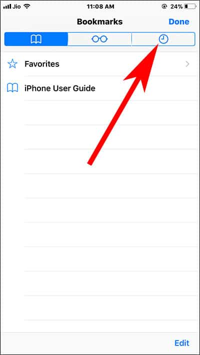Tap on History tab in Safari browser
