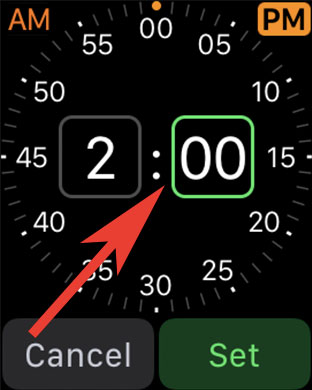 Tap on Minute to Create Alarm on Apple Watch