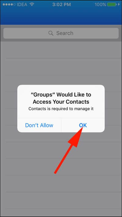 Tap on Ok and Allow Access to Contacts