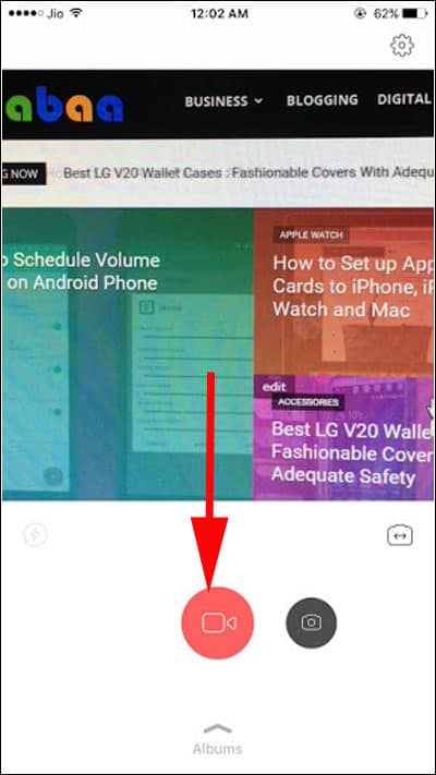 Tap on video button to start recording video