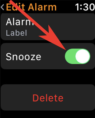 Toggle ON or OFF Snooze alarm in clock app on Apple Watch
