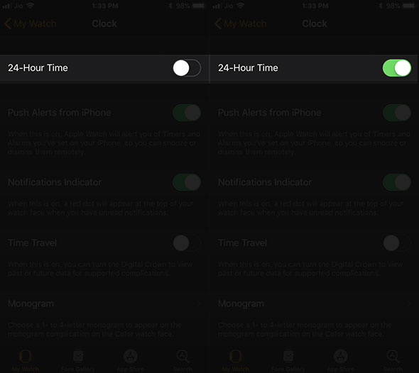 Turn ON 24 Hour Time in Watch Clock App on iPhone