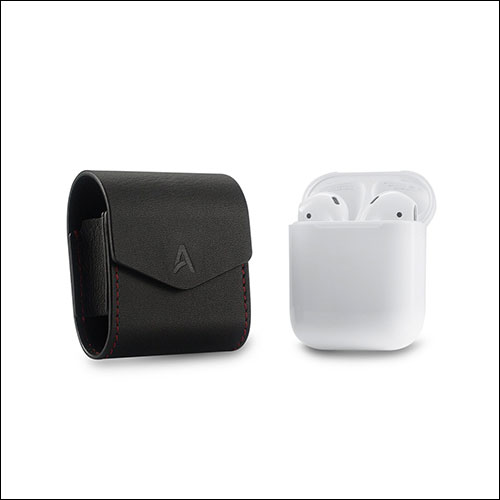 AhaStyle Premium Genuine Leather Magnet closure Flip Cover for Apple Wireless Earphone AirPods