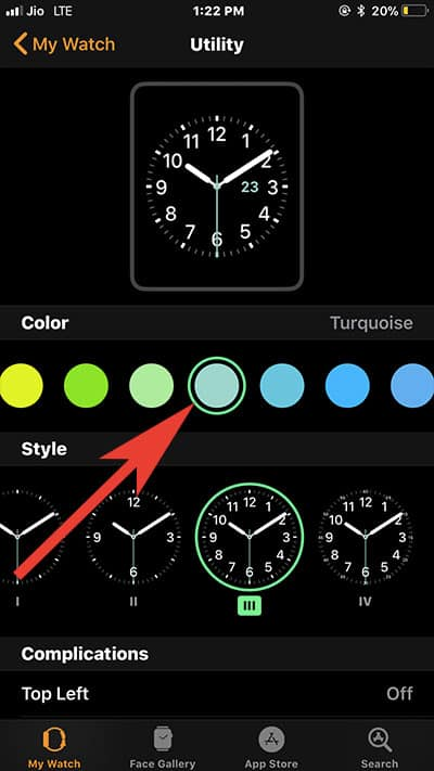 Change Apple Watch Face Color