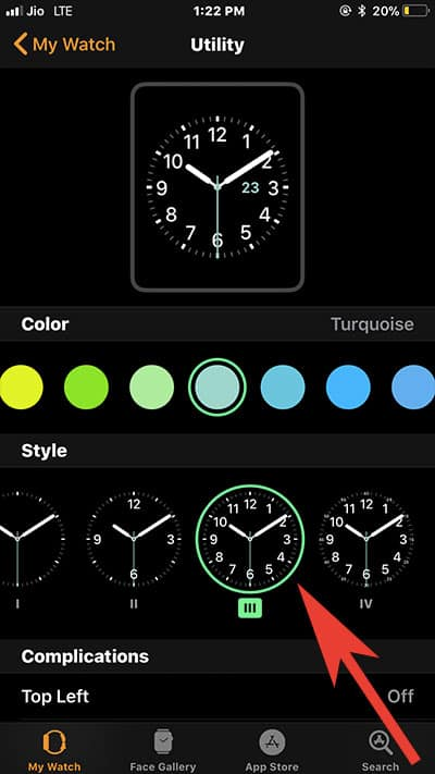 Change Apple Watch Face Style