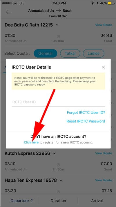 Click here if you dont have IRCTC login details