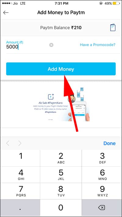 Enter Amount to Add Money in Paytm