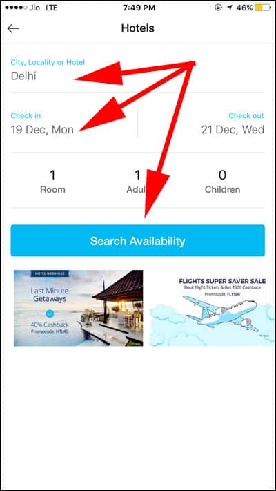 Enter Details to Search Hotels