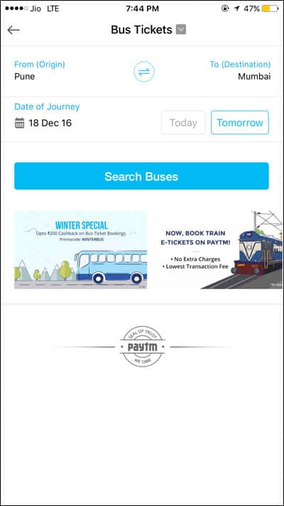 Enter Details to travel in Bus