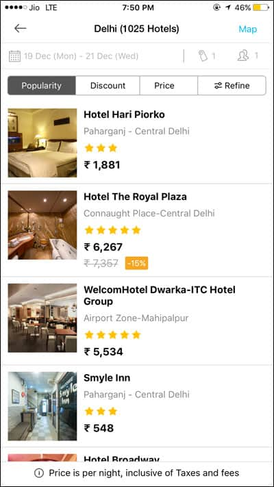 Hotels Availability