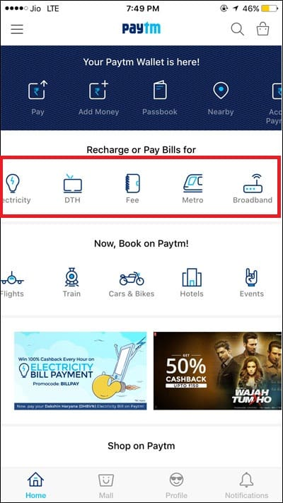 Pay other utility Bill from Paytm