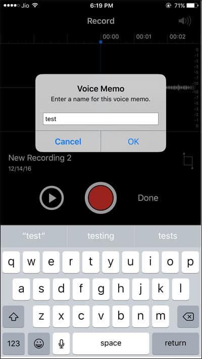 Rename voice memo