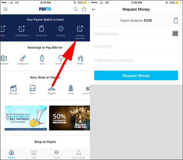 Request Money from Paytm