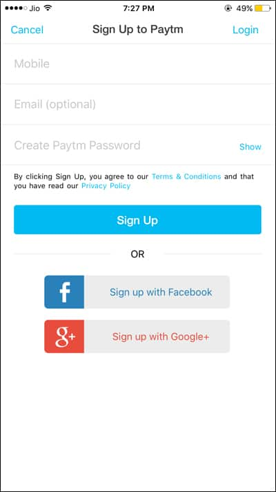 Signup to Paytm from iPhone and Android