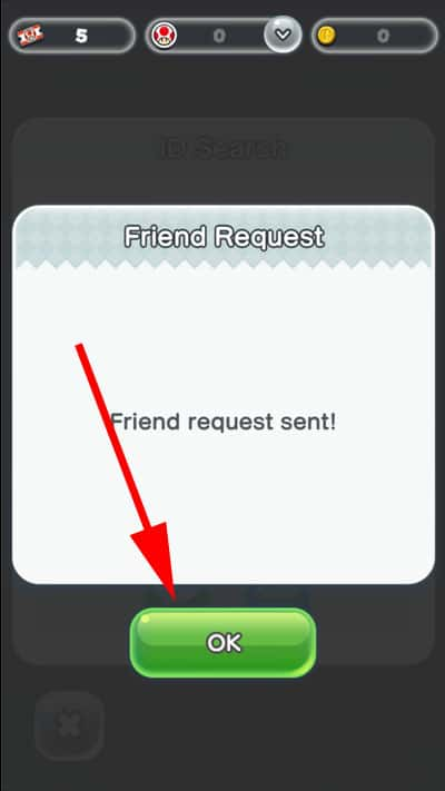 Tap on OK to confirm Request Sent