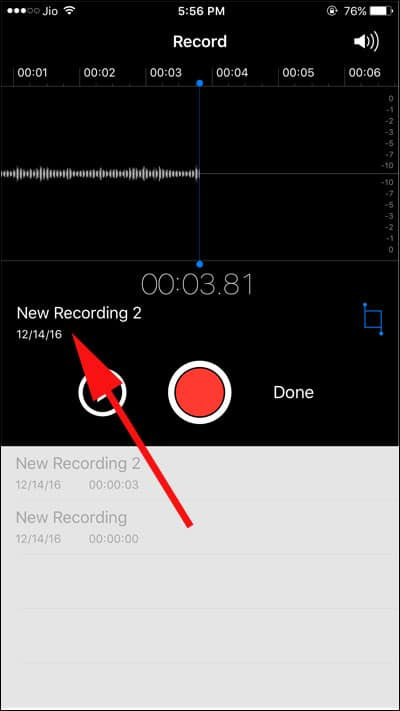 Tap on Recording Name
