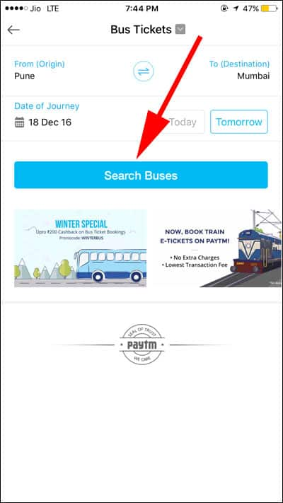 Tap on Search Buses