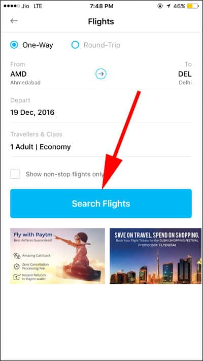 Tap on Search Flights