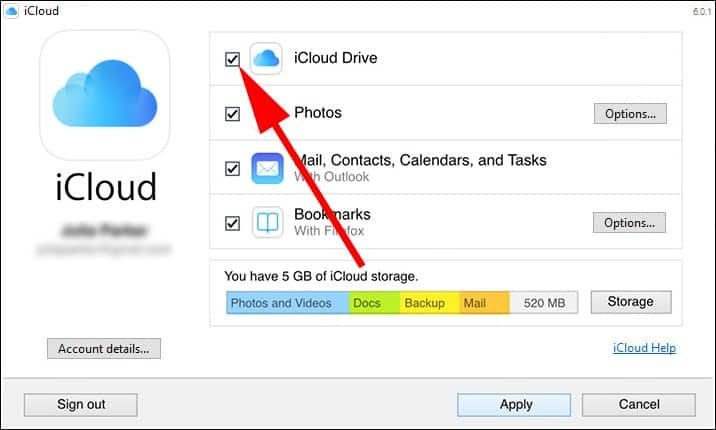 iCloud Drive, Photos, Contacts, Calendars, and Tasks as well as Bookmarks.