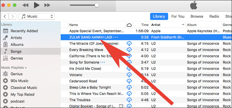 Choose Any Song you want set a custom iPhone Ringtone in iTunes