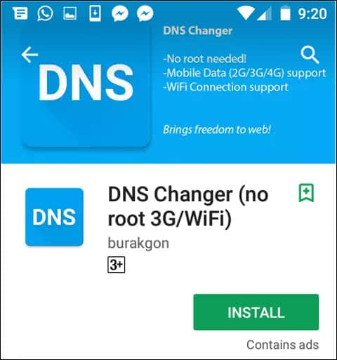 Download DNS Changer app