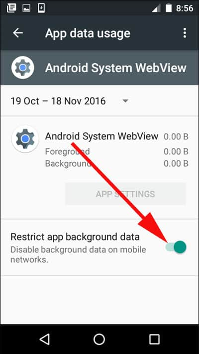 Enable Restrict app background data