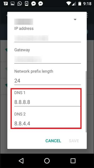 Enter DNS address manually