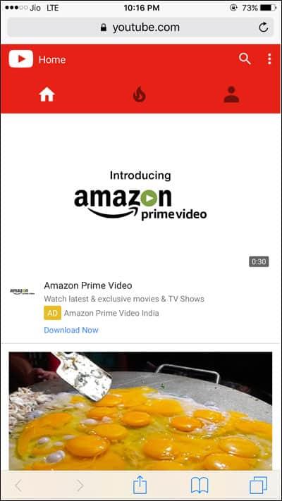 Open Youtube in Safari Browser