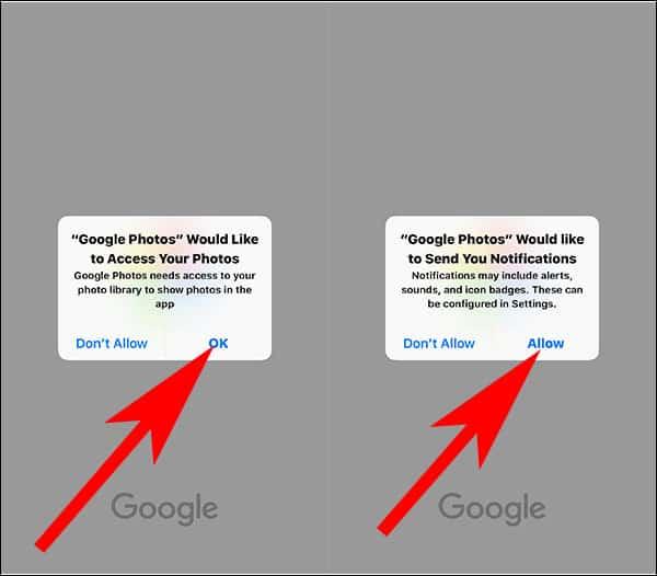 Allow Google Photos App to Access Photos on iPhone and iPad