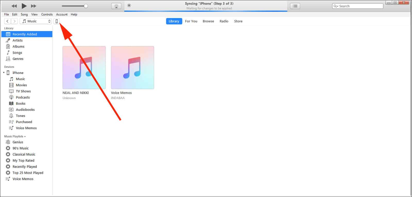 Click on Phone icon in iTunes