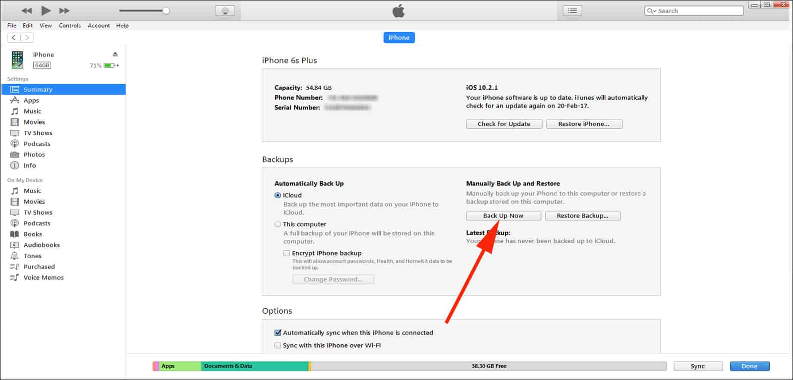 Click on backup now option in iTunes