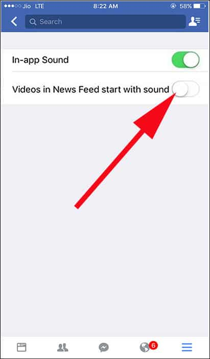 Disable Videos in News Feed start with sound Option