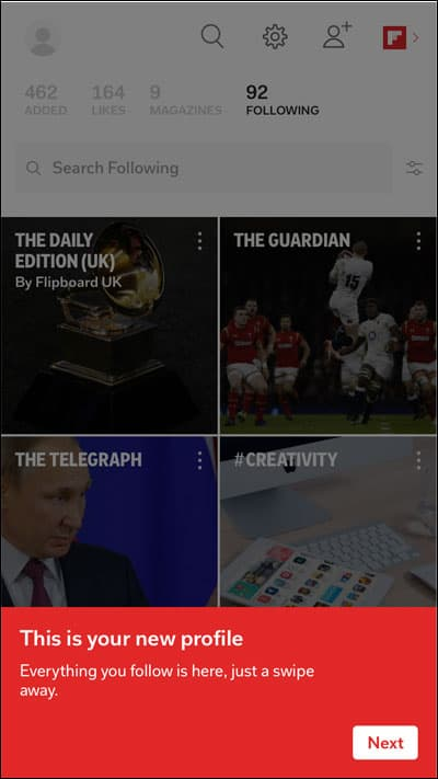 Flipboard New Profile Page
