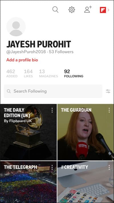 New Look of Flipboard Profile