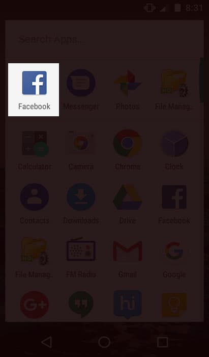 Open Facebook in Android Device