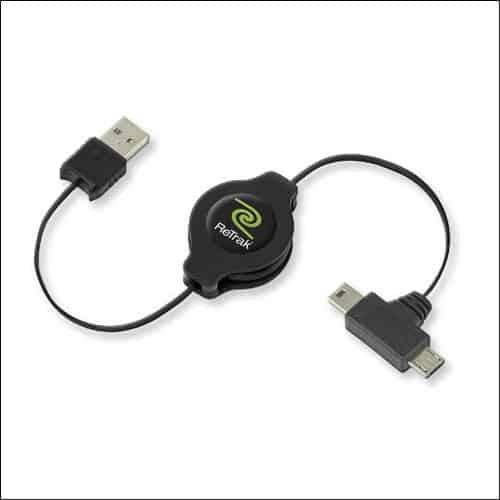 ReTrak Retractable Dual-Tip Micro and Mini USB Cable