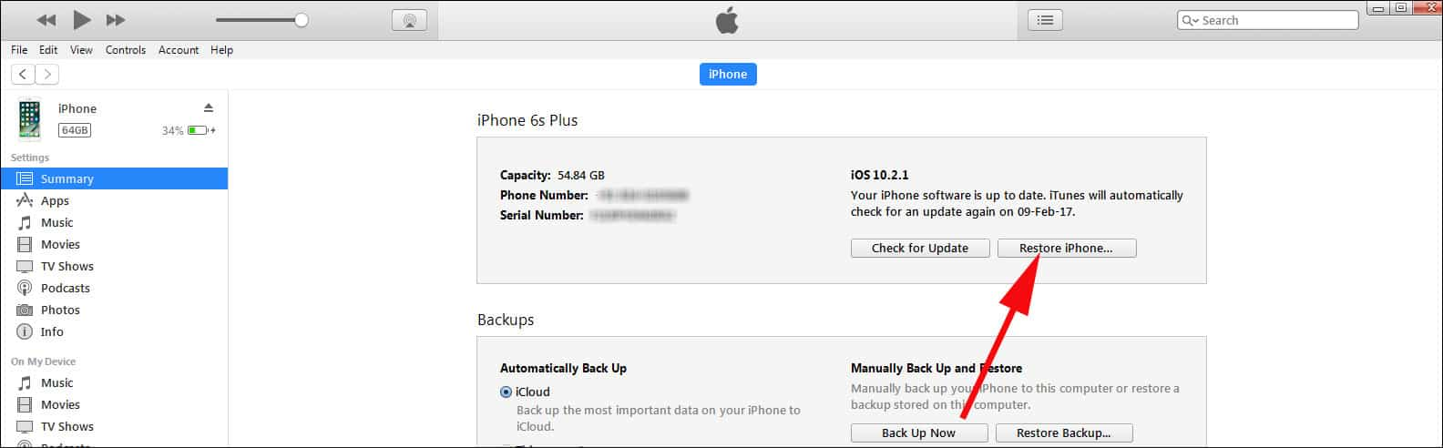 Sync your iPhone with itunes and tap on Restore option