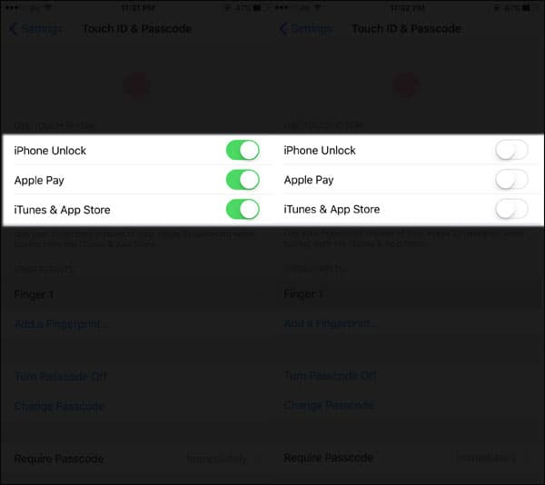 Toggle on-off all three options iPhone Unlock, Apple Pay, and iTunes & App Store.