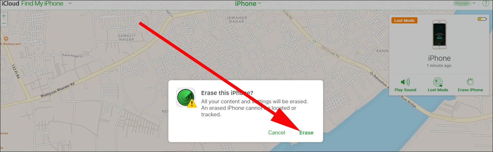 Click on Erase again and Confirm your Action