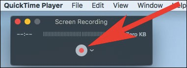 Click on record button in QuickTime